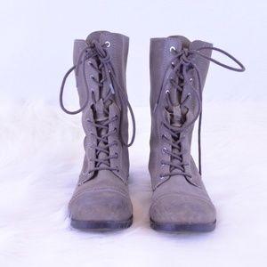 ALDO Boho Distressed Combat Grey Leather SZ 8.5